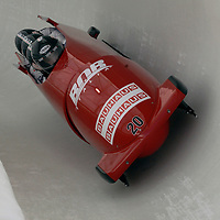28 February 2007:      The Italy 1 bobsled driven by Simone Bertazzo with sidepushers Danilo Santarsiero and Sergio Riva, and brakeman  Samuele Romanini drive through turn 20 in the 1st run at the 4-Man World Championships competition on February 27 at the Olympic Sports Complex in Lake Placid, NY.