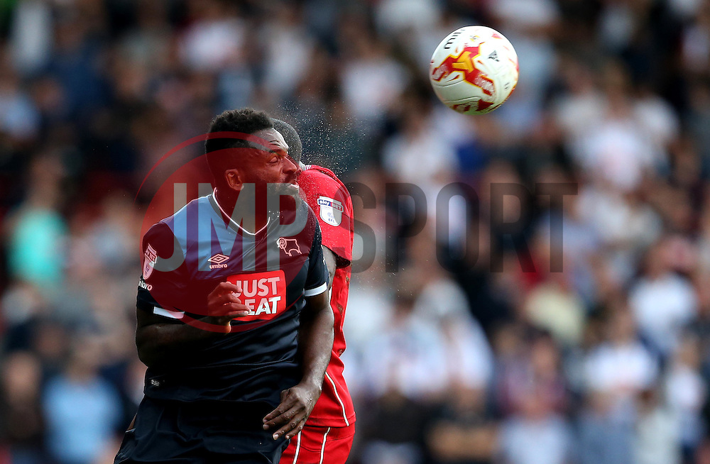 Darren Bent of Derby County heads the ball - Mandatory by-line: Robbie Stephenson/JMP - 17/09/2016 - FOOTBALL - Ashton Gate Stadium - Bristol, England - Bristol City v Derby County - Sky Bet Championship