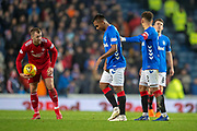 James Tavernier (#2) of Rangers FC makes sure that Alfredo Morelos (#20) of Rangers FC leaves the field after his red card during the Ladbrokes Scottish Premiership match between Rangers and Aberdeen at Ibrox, Glasgow, Scotland on 5 December 2018.