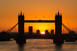 © Licensed to London News Pictures. 06/11/2016. LONDON, UK.  The sun rises behind Tower Bridge on the River Thames in London this morning, following a drop in temperature last night and cold weather this morning.  Photo credit: Vickie Flores/LNP