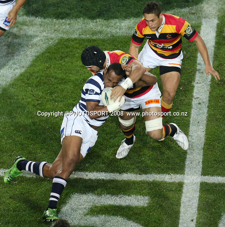 Auckland's Joe Rokocoko tackled by Liam Messam with Jackson Willison in background. Air NZ Cup, Waikato v Auckland, Waikato Stadium, Hamilton, Saturday 30 August 2008. Photo: Stephen Barker/PHOTOSPORT