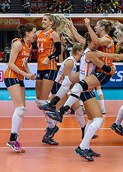 15-10-2018 JPN: World Championship Volleyball Women day 16, Nagoya<br /> Netherlands - USA 3-2 /Lonneke Sloetjes #10 of NetherlandsLaura Dijkema #14 of Netherlands, Myrthe Schoot #9 of Netherlands, Maret Balkestein-Grothues #6 of Netherlands