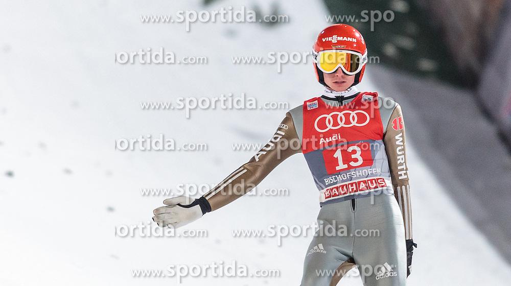 06.01.2016, Paul Ausserleitner Schanze, Bischofshofen, AUT, FIS Weltcup Ski Sprung, Vierschanzentournee, Bischofshofen, Finale, im Bild Richard Freitag (GER) // Richard Freitag of Germany reacts after his 1st round jump of the Four Hills Tournament of FIS Ski Jumping World Cup at the Paul Ausserleitner Schanze in Bischofshofen, Austria on 2016/01/06. EXPA Pictures © 2016, PhotoCredit: EXPA/ JFK