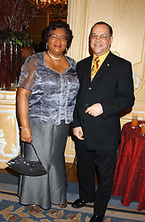 The Deputy High Commissioner of Barbados HE MR L EDWIN POLLARD & MRS POLLARD at the Holders Season Barbados Comes to London night at The Four Seasons Hotel, Hamilton Place, London on 3rd February 2006.<br />