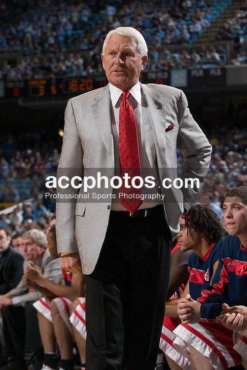 28 January 2006: Arizona head coach Lute Olson during a 69-86 Arizona Wildcats loss to the North Carolina Tarheels, in the Dean Smith Center in Chapel Hill, NC.