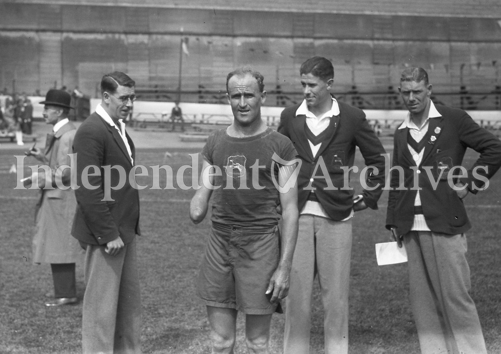 H892<br /> Aonach Tailteann Athletics - Croke Park. Athletes on field. Augusr 1928. M. Steyler (South Africa) who was second in the Marathon Race from Navan to Dublin <br />   (Part of the Independent Newspapers Ireland/NLI Collection)