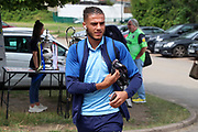 AFC Wimbledon defender Nesta Guinness-Walker (18) arriving during the EFL Sky Bet League 1 match between AFC Wimbledon and Rotherham United at the Cherry Red Records Stadium, Kingston, England on 3 August 2019.