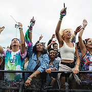 WASHINGTON, DC - August 23rd, 2014 - The crowd goes crazy as local rapper Goldlink performs at the 3rd annual Trillectro Music Festival at RFK Stadium in Washington, D.C. (Photo by Kyle Gustafson / For The Washington Post)