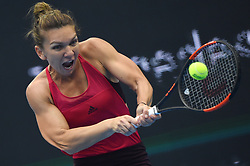 BEIJING, Oct. 7, 2017  Simona Halep of Romania returns the ball during the women's singles semifinal match against Jelena Ostapenko of Latvia at the China Open tennis tournament in Beijing on Oct. 7, 2017. Simona Halep won 2-0 and advanced to the final.  wll) (Credit Image: © Ju Huanzong/Xinhua via ZUMA Wire)