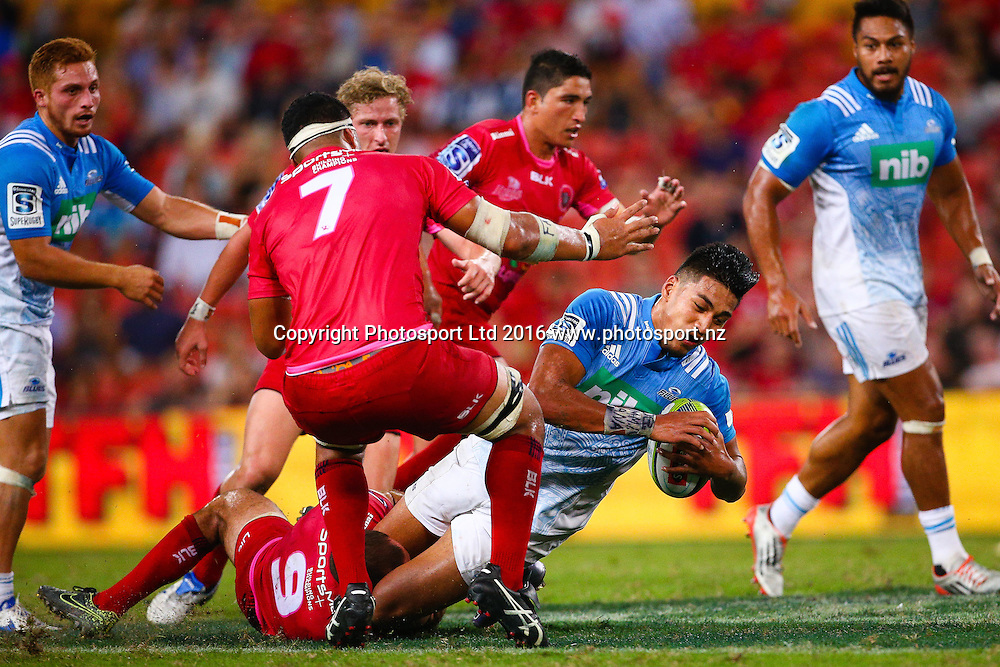 Rieko Ioane. Investec Super Rugby, Reds v Blues, Suncorp Stadium, Brisbane, Australia. 19 March 2016. Copyright Image: Patrick Hamilton / www.photosport.nz