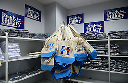 Hundreds of campaign bumper stickers, baseball hats, tee-shirts are ready to be shipped to Clinton supporters by Ready For Hillary, a PAC urging Hillary Clinton to run for president in 2016 from its headquarters in Rosslyn, Virginia, USA on June 11, 2014. Photo by Olivier Douliery/ABACAPRESS.COM