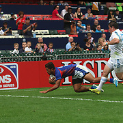 Pentateuch Vaki scores the historic first major international try for American Samoa's Talavalu in their first game of the 2014 Hong Kong Sevens vs Italy.  Samoa lost 31-12.   Photo by Barry Markowitz, 3/27/14, 3:20pm