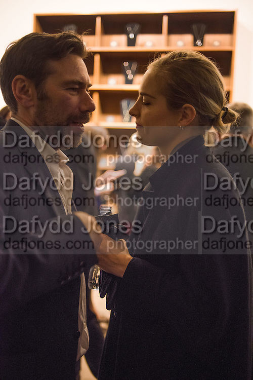 """MAT COLLISHAW; POLLY MORGAN, The launch of Rachel Howard's """"Humble Hanger"""" -  a limited edition jewellery collaboration with True Rocks.. BlainSouthern, Hanover Sq. London. 18 November 2015"""