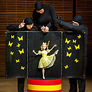 May 5, 2012 - New York, NY : From left, puppeteers Ursula Winzer, Eva Wiener, and Vladimir Fediakov of the Salzburg Marionette Theater perform Claude Debussy's 'La boîte à joujoux (The Toy Box) (1913),' featuring pianist András Schiff (not pictured), at Zankel Hall on Saturday evening. CREDIT: Karsten Moran for The New York Times