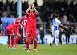 Charlton Athletic's Michal Zyro applauds the Charlton Athletic fans at full time