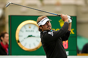 French golf professional Victor Dubuisson  tees off the 1st at the BMW PGA Championship at the Wentworth Club, Virginia Water, United Kingdom on 27 May 2016. Photo by Simon Davies.