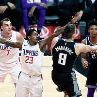 26 December 2017: Sacramento Kings guard Bogdan Bogdanovic (8) goes for the layup past LA Clippers guard Lou Williams (23) and LA Clippers forward Sam Dekker (7) during the LA Clippers 122-95 victory over the Sacramento Kings, at the Staples Center, Los Angeles, California, USA.
