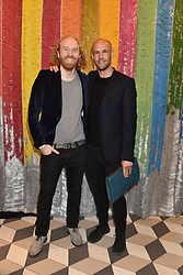 Oliver Wayman and Cameron Saul at a cocktail supper hosted by BOTTLETOP co-founders Cameron Saul & Oliver Wayman, along with Arizona Muse, Richard Curtis & Livia Firth to launch the #TOGETHERBAND campaign at The Quadrant Arcade on April 24, 2019 in London, England.<br /> <br /> ***For fees please contact us prior to publication***