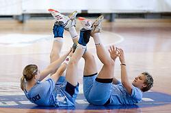 Tamara Mavsar and Nastja Praprotnik at practice of Slovenian Handball Women National Team, on June 3, 2009, in Arena Kodeljevo, Ljubljana, Slovenia. (Photo by Vid Ponikvar / Sportida)