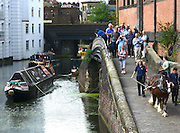 © Licensed to London News Pictures. 23/08/2012. London, UK. Many people lined the tow path to watch. Ilkeston, a restored narrowboat, is towed by a horse, Buddy, a 13-year-old Clydesdale, across London's canal network, on its way to the London Canal Museum. It has journeyed from Ellesmere Port in Cheshire, through more than 100 locks, to London to celebrate its 100th birthday. Photo credit : Stephen Simpson/LNP