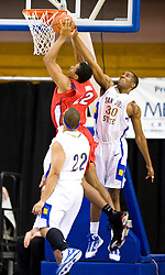 February 27, 2010; San Jose, CA, USA;  San Jose State Spartans center Chris Oakes (30) blocks a shot from Fresno State Bulldogs center Greg Smith (22) during the first half at The Event Center.  San Jose State defeated Fresno State 72-45.