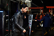 Arsenal manager Mikel Arteta gets off the team bus on arrival ahead of the The FA Cup match between Bournemouth and Arsenal at the Vitality Stadium, Bournemouth, England on 27 January 2020.