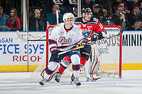 KELOWNA, CANADA - NOVEMBER 26: James Hilsendager #3 of the Regina Pats looks for the pass in front of Rodney Southam #17 of the Kelowna Rockets on November 26, 2016 at Prospera Place in Kelowna, British Columbia, Canada.  (Photo by Marissa Baecker/Shoot the Breeze)  *** Local Caption ***