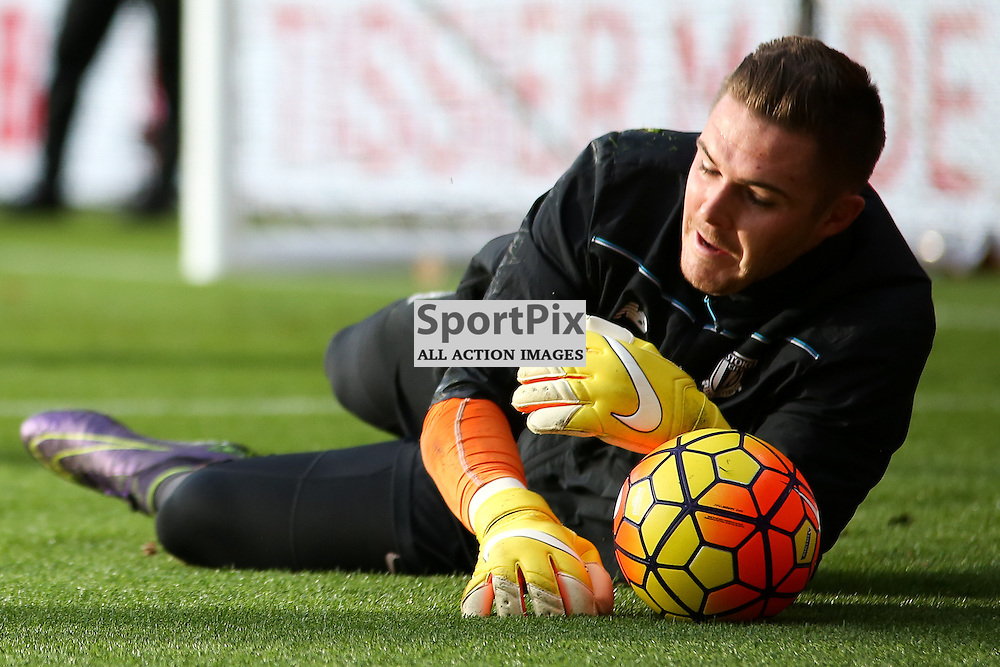 Jack Butland  warms up During Southampton vs Stoke City on Saturday the 21st November 2015.