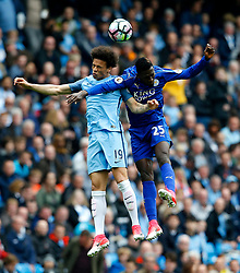 Leroy Sane of Manchester City and Wilfred Ndidi of Leicester City - Mandatory by-line: Matt McNulty/JMP - 13/05/2017 - FOOTBALL - Etihad Stadium - Manchester, England - Manchester City v Leicester City - Premier League