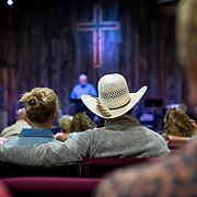 "The Wolgemuth Bros. harvest crew attend ""Cowboy Church"" in Crowell, TX, May 28, 2017. Every Sunday no matter what town they are in the crew of devout Christians attends church."