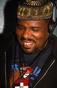 Hip hop pioneer DJ Afrika Bambaataa dj'ing London 1990's
