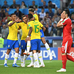 Paulinho of Brazil celebrates scoring his first side's goal with teammates during the FIFA World Cup Group E match between Serbia and Brazil on June 27, 2018 in Moscow, Russia. (Photo by Anthony Dibon/Icon Sport)