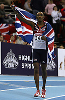 Photo: Rich Eaton.<br /> <br /> EAA European Athletics Indoor Championships, Birmingham 2007. 03/03/2007. Nathan Douglas of Great Britain celebrates his silver medal in the finals of the mens triple jump