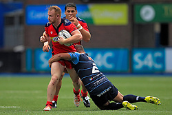 Will Hurrell of Bristol Rugby is tackled by Kirby Myhill of Cardiff Blues - Mandatory by-line: Ian Smith/JMP - 20/08/2016 - RUGBY - BT Sport Cardiff Arms Park - Cardiff, Wales - Cardiff Blues v Bristol Rugby - Pre-season friendly