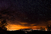 Stars and city lights from the San Bernardino Mountains, San Bernardino National Forest, California USA