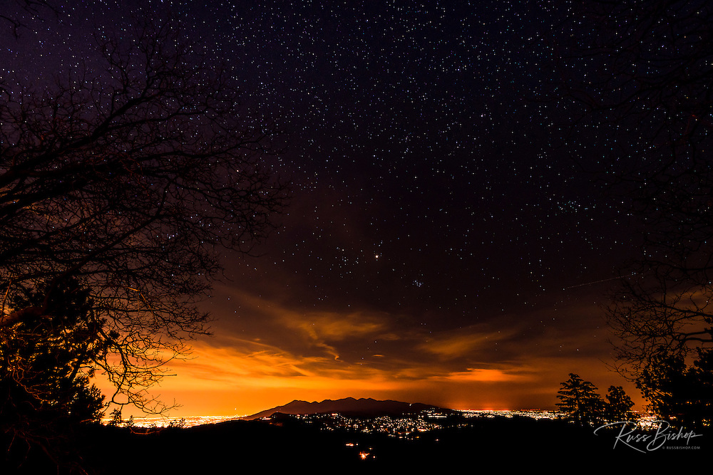 Stars and city lights from the San Bernardino Mountains, San Bernardino National Forest, California USA
