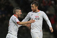 Picture by David Horn/Focus Images Ltd +44 7545 970036.26/12/2012.Dean Bowditch (right) of Milton Keynes Dons celebrates scoring with Ryan Lowe (left) during the npower League 1 match at stadium:mk, Milton Keynes.
