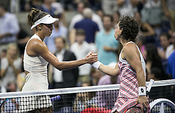 September 5, 2018 - Flushing Meadows, New York, U.S - Madison Keys shakes hands after winning her match with Carla Suarez Navarro on Day 10 of the 2018 US Open at USTA Billie Jean King National Tennis Center on Wednesday September 5, 2018 in the Flushing neighborhood of the Queens borough of New York City. Keys defeats Suarez Navarro, 6-4, 6-3. (Credit Image: © Prensa Internacional via ZUMA Wire)