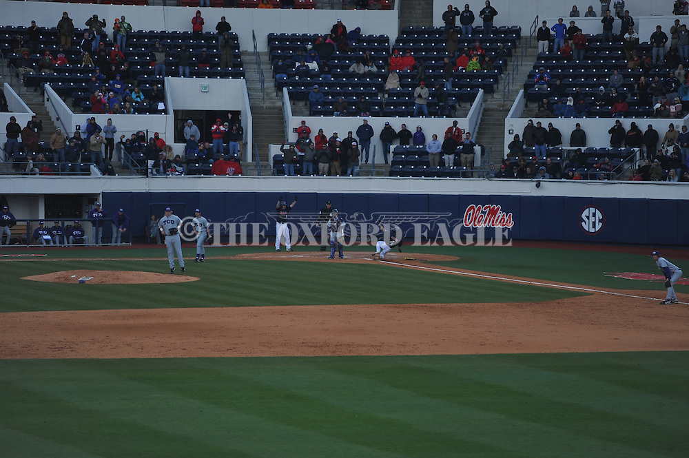 Ole Miss' Will Jamison (4) scores vs. TCU at Oxford-University Stadium on Saturday, February 16, 2013. Ole Miss won 5-2. Huber picked up his second save of the season.