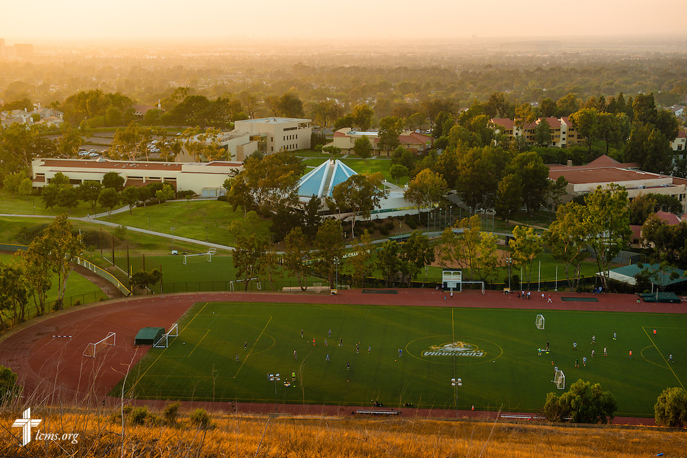 The sun sets over Concordia University Irvine on Tuesday, July 8, 2014, in Irvine, Calif. LCMS Communications/Erik M. Lunsford