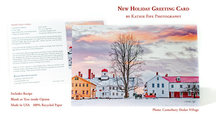 New Holiday Greeting Card. Image is of a horse wagon ride through Canterbury Shaker Village. <br />