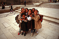 Egyptian girls playing near the el Rifa'i Mosque (Islamic Cairo), Cairo, Egypt