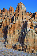 Million-year-old lake sediments have eroded into fantastic mud castles at Cathedral Gorge State Park, Nevada, USA. Camping overnight for sunrise and sunset will create good photo opportunities.