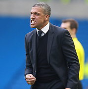 Chris Hughton shows his frustration during the Sky Bet Championship match between Brighton and Hove Albion and Middlesbrough at the American Express Community Stadium, Brighton and Hove, England on 19 December 2015. Photo by Bennett Dean.
