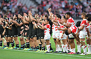 November 3, 2018, Tokyo, Japan -New Zealand's All Blacks and Japanese players react to spectators after their no-side at the Lipovitan-D Challenge Cup against New Zealand's All Blacks in Tokyo on Saturday, November 3, 2018. All Blacks defeated Japan 69-31.    (Photo by Yoshio Tsunoda/AFLO) LWX -ytd-