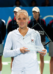 Winner of the tournament Anna Chakvetadze of Russia with trophy for first place at final match of Singles at Banka Koper Slovenia Open WTA Tour tennis tournament, on July 25, 2010 in Portoroz / Portorose, Slovenia. (Photo by Matic Klansek Velej / Sportida)