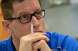 03-12-2013 VOLLEYBAL: PERSCONFERENTIE ORANJE MANNEN: NIEUWEGEIN<br /> Coach Edwin Benne en directeur Michel Everaert geven uitleg over de delectie en werkwjze voor het WK kwalificatie / Edwin Benne<br /> &copy;2013-FotoHoogendoorn.nl