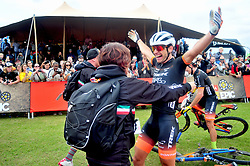PAARL SOUTH AFRICA - MARCH 23: Stage winners Fabian Rabensteiner and Michele Casagrande celebrate with their Trek selle san Marco team on the 70km final day, stage 7 on March 23, 2018 Wellingtion to Paarl, South Africa. Mountain bikers gather from around the world to compete in the 2018 ABSA Cape Epic, racing 8 days and 658km across the Western Cape with an accumulated 13 530m of climbing ascent, often referred to as the 'untamed race' the Cape Epic is said to be the toughest mountain bike event in the world. (Photo by Dino Lloyd)
