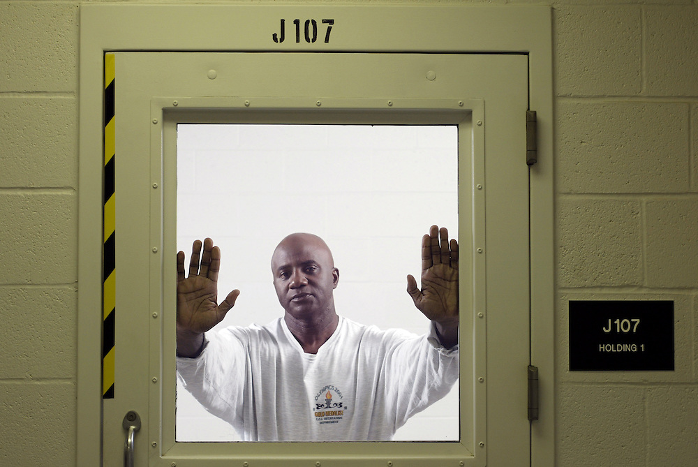 Robert Atwater at the Taft Federal Correctional Facility in Bakersfield, California, USA. Photographed for Sports Illustrated....