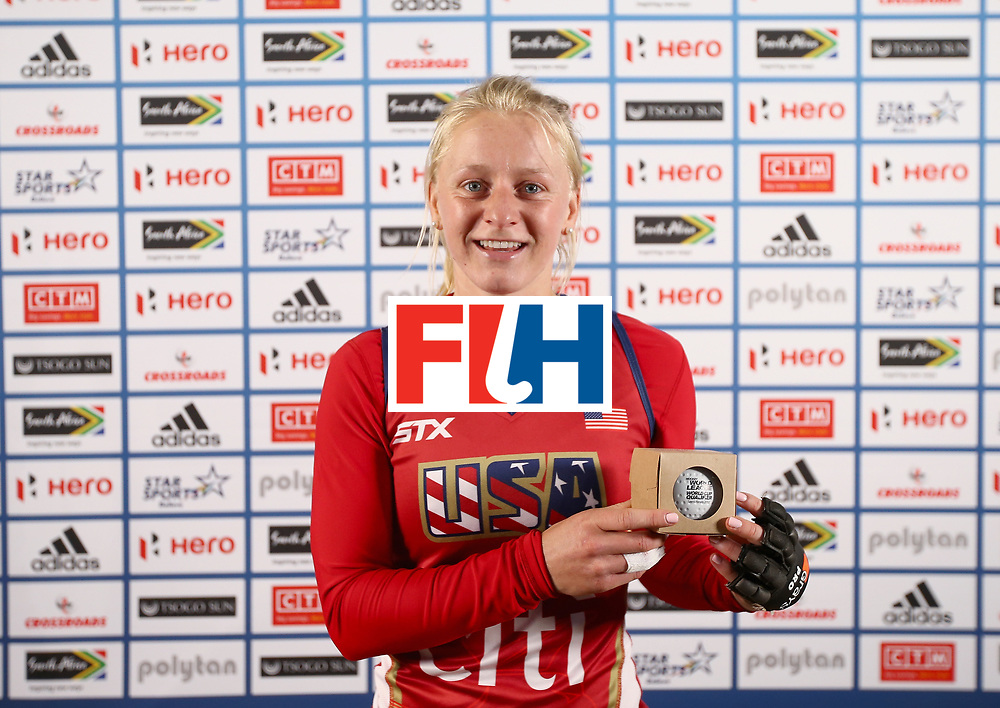 JOHANNESBURG, SOUTH AFRICA - JULY 8: Jill Witmer of the United States poses with her milestone award after the pool B match between the United States and Chile on day one of the FIH Hockey World League Semi-Final at Wits University on July 8, 2017 in Johannesburg, South Africa. (Photo by Jan Kruger/Getty Images for FIH)
